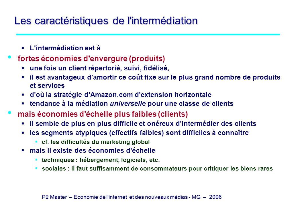 P2 Master – Economie de l'internet et des nouveaux médias - MG – 2006 Les caractéristiques de l'intermédiation L'intermédiation est à fortes économies