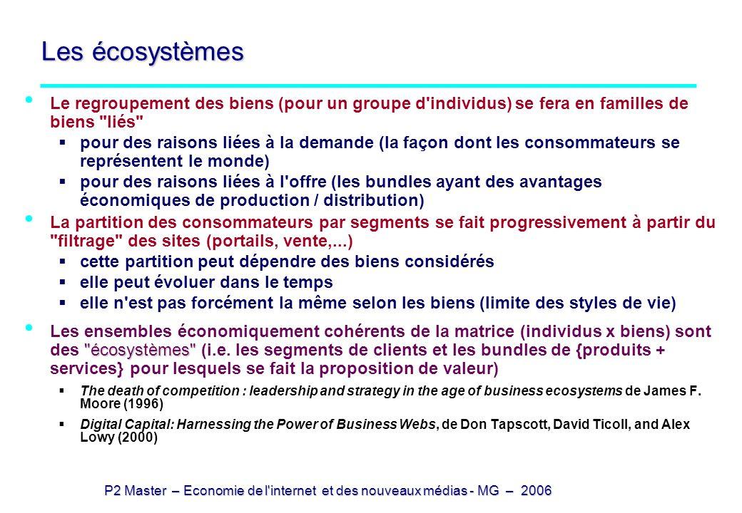 P2 Master – Economie de l'internet et des nouveaux médias - MG – 2006 Les écosystèmes Le regroupement des biens (pour un groupe d'individus) se fera e