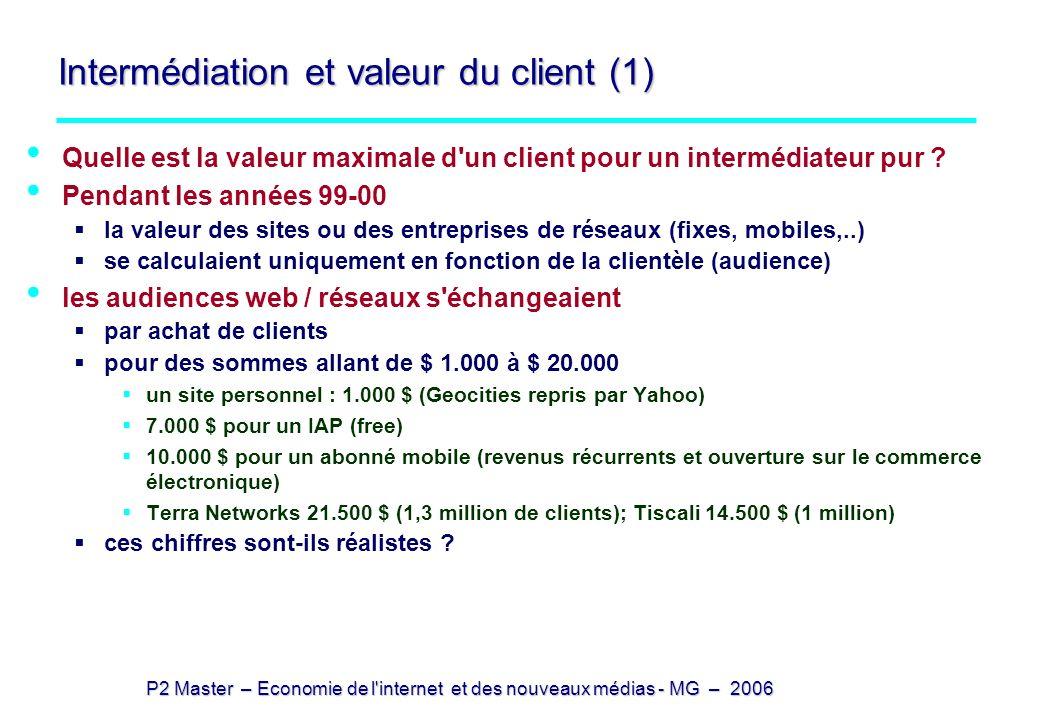 P2 Master – Economie de l internet et des nouveaux médias - MG – 2006 Intermédiation et valeur du client (2) Si l intermédiateur intermédie toute la consommation (intermédiable) on trouve des valeurs maximales autour de $ 25.000 si on suppose des taux d intermédiation (% pris par l intermédiaire, net des coûts d intermédiation) de 10% alors que la marge commerciale brute réelle est de 30% pour un taux d actualisation de 5% Ce qui suppose que le client est parfaitement captif (loyal) et soit disposé à payer pour des conseils soit que le lien conseil / achat se fait sans coûts (comment ?)