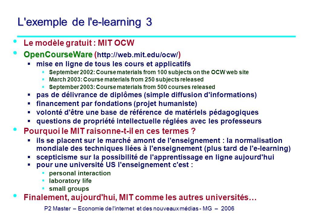 P2 Master – Economie de l'internet et des nouveaux médias - MG – 2006 L'exemple de l'e-learning 3 Le modèle gratuit : MIT OCW OpenCourseWare OpenCours