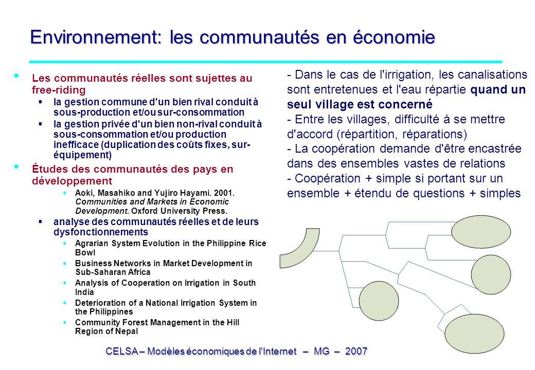 CELSA – Modèles économiques de l Internet – MG – 2007 2 – Communautés d expérience 2 – Communautés d expérience