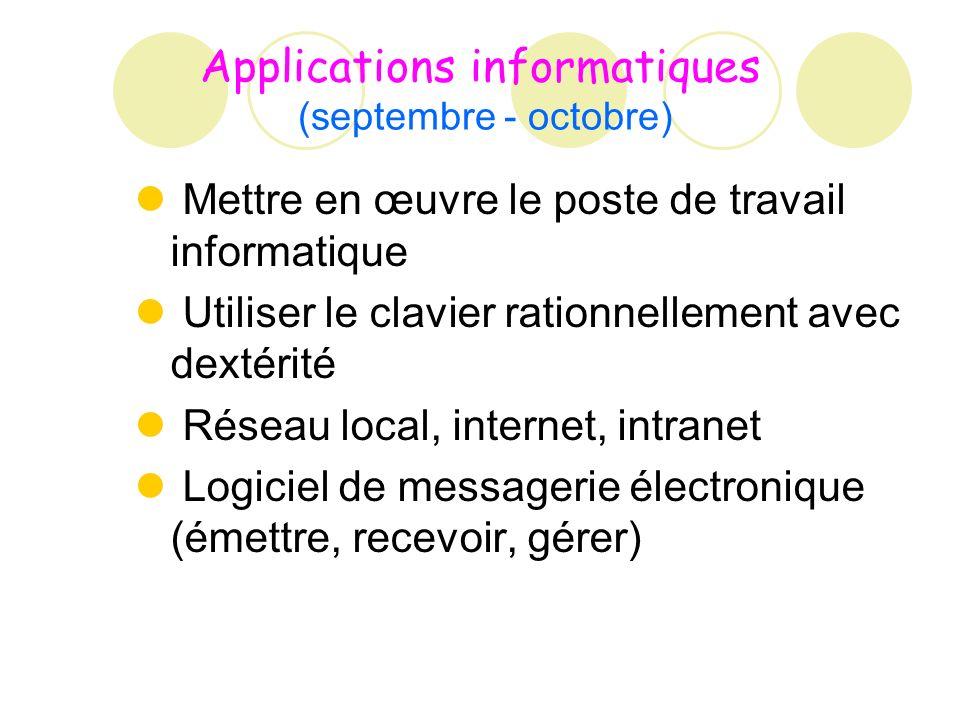 Applications informatiques (septembre - octobre) Mettre en œuvre le poste de travail informatique Utiliser le clavier rationnellement avec dextérité Réseau local, internet, intranet Logiciel de messagerie électronique (émettre, recevoir, gérer)
