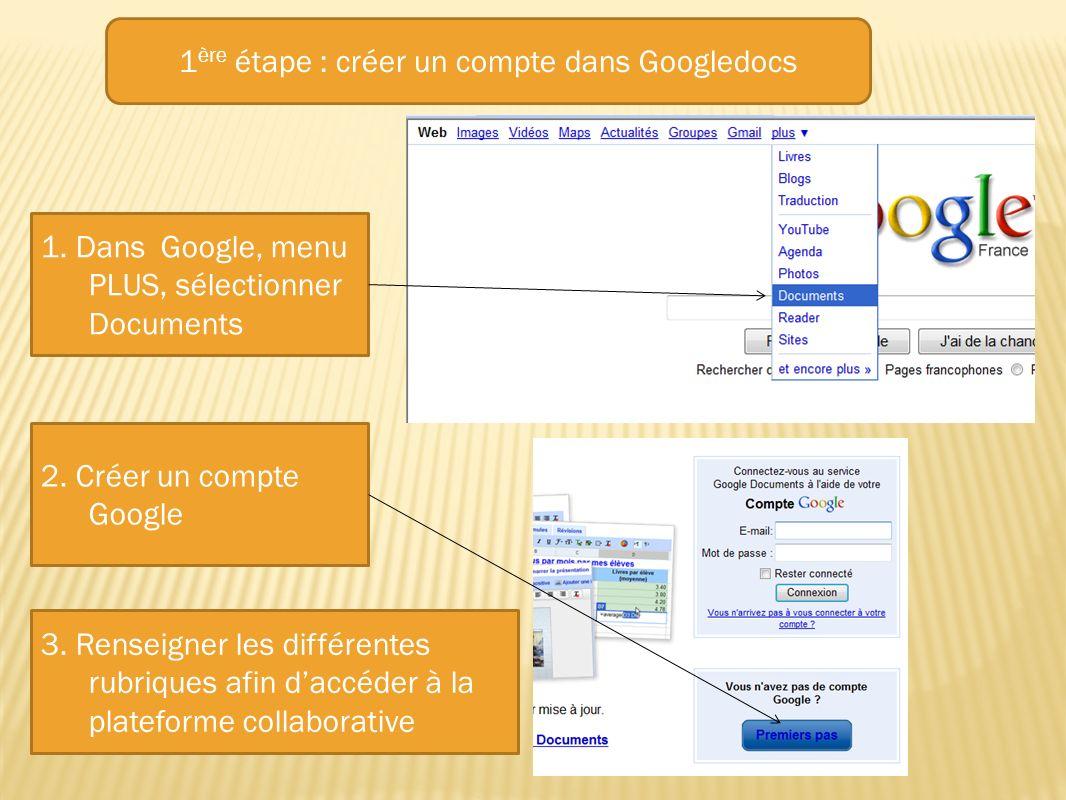 1. Dans Google, menu PLUS, sélectionner Documents 2. Créer un compte Google 3. Renseigner les différentes rubriques afin daccéder à la plateforme coll