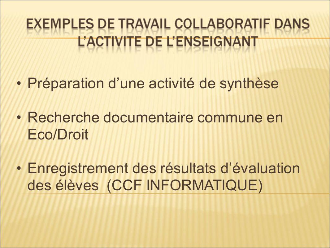 Préparation dune activité de synthèse Recherche documentaire commune en Eco/Droit Enregistrement des résultats dévaluation des élèves (CCF INFORMATIQU