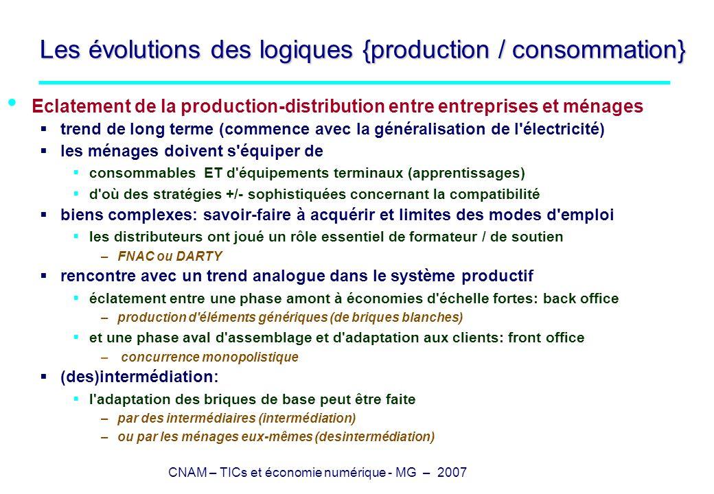 CNAM – TICs et économie numérique - MG – 2007 Les évolutions des logiques {production / consommation} Numérisation la numérisation actuelle a été précédée par des techniques de copie à coût faible la numérisation s accompagne d une redéfinition des biens et services {théâtre / cinéma} ou {concerts / disques} le marché est possible si les équipements de copie sont onéreux –limités au système productif les biens numériques sont techniquement non-rivaux non-rivalité: Cm=0 ET la production (copie) est possible par tous pas de marché direct possible sur des biens non-rivaux d où deux stratégies possibles : (1) rendre rivaux (techniquement ou/et juridiquement) les biens (DRM) absurdité économique visible par tous (2) déplacer le recueil de la valeur du bien non-rival vers un bien lié bundling avec un bien rival (concert) bundling avec un bien dont la consommation par i à de la valeur pour un tiers –(publicité et 2-sided markets)