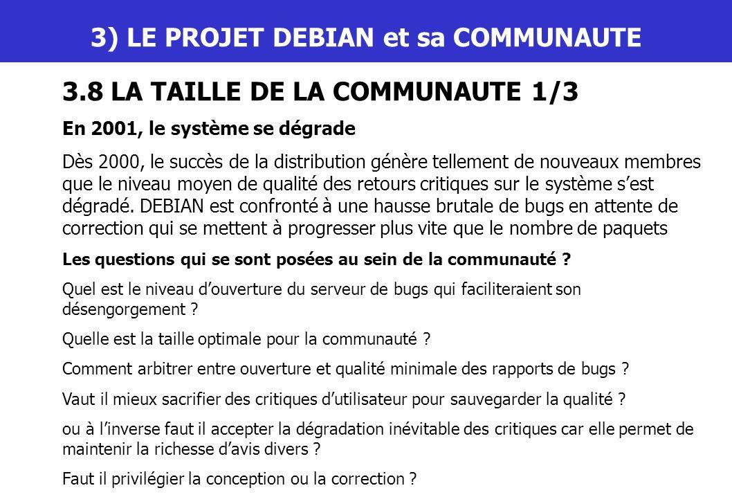 III) LE PROJET DEBIAN et sa COMMUNAUTE 3.8 LA TAILLE DE LA COMMUNAUTE 1/3 En 2001, le système se dégrade Dès 2000, le succès de la distribution génère
