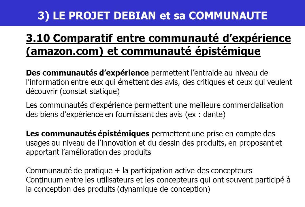 III) LE PROJET DEBIAN et sa COMMUNAUTE 3.10 Comparatif entre communauté dexpérience (amazon.com) et communauté épistémique Des communautés dexpérience