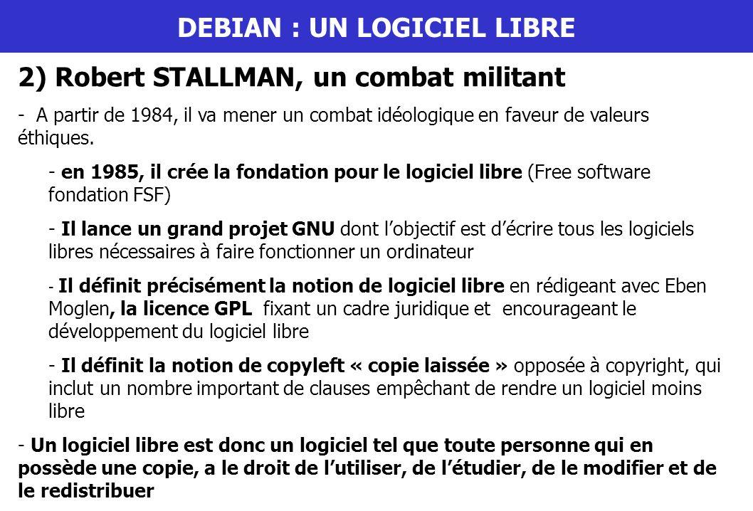 DEBIAN : UN LOGICIEL LIBRE 2) Robert STALLMAN, un combat militant - A partir de 1984, il va mener un combat idéologique en faveur de valeurs éthiques.