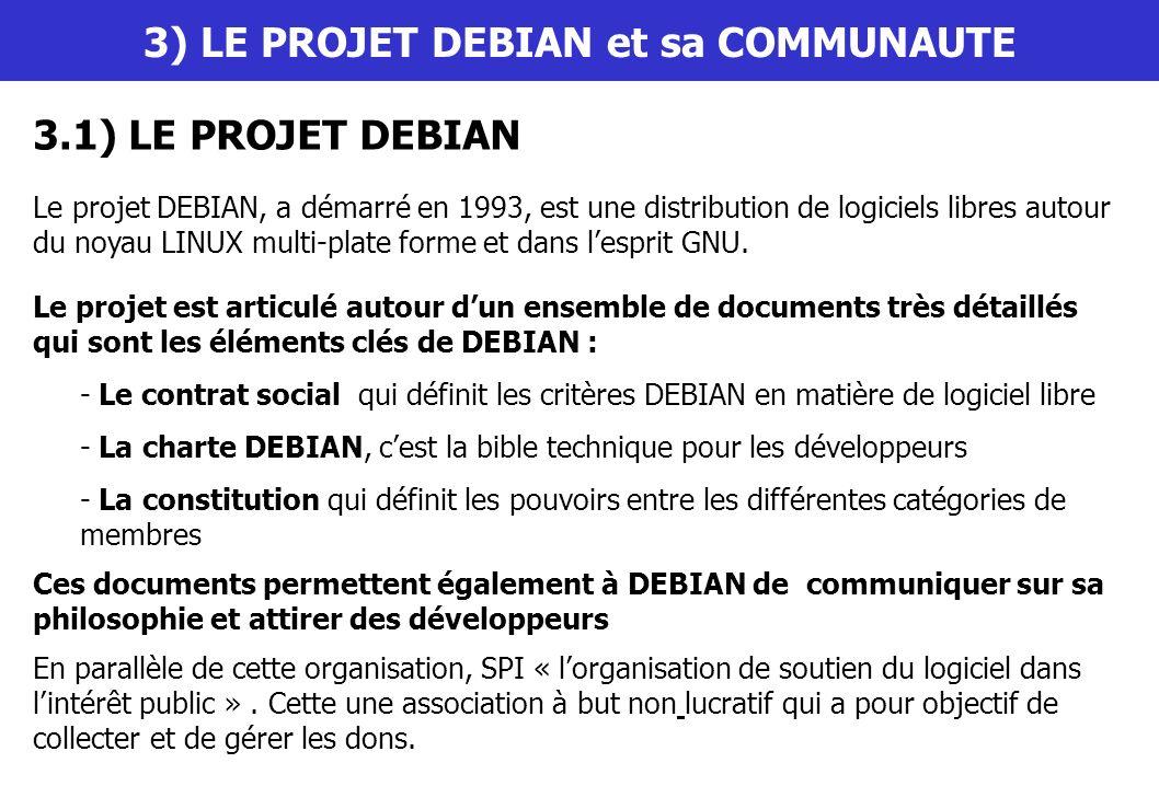 3) LE PROJET DEBIAN et sa COMMUNAUTE 3.1) LE PROJET DEBIAN Le projet DEBIAN, a démarré en 1993, est une distribution de logiciels libres autour du noy