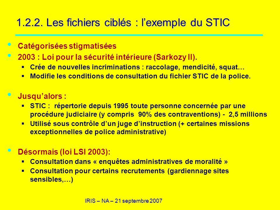 IRIS – NA – 21 septembre 2007 1.2.2. Les fichiers ciblés : lexemple du STIC Catégorisées stigmatisées 2003 : Loi pour la sécurité intérieure (Sarkozy