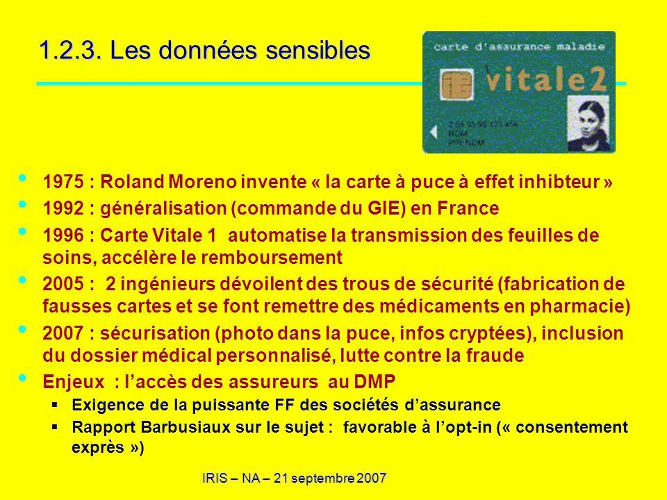IRIS – NA – 21 septembre 2007 1.2.3. Les données sensibles 1975 : Roland Moreno invente « la carte à puce à effet inhibteur » 1992 : généralisation (c