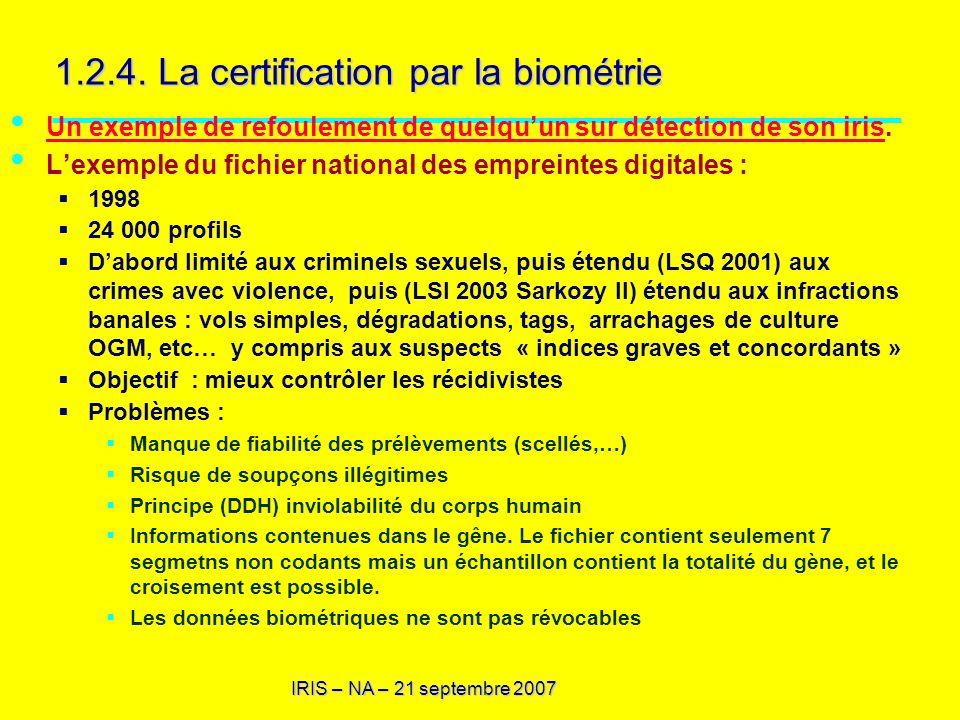 IRIS – NA – 21 septembre 2007 1.2.4. La certification par la biométrie Un exemple de refoulement de quelquun sur détection de son iris. Un exemple de