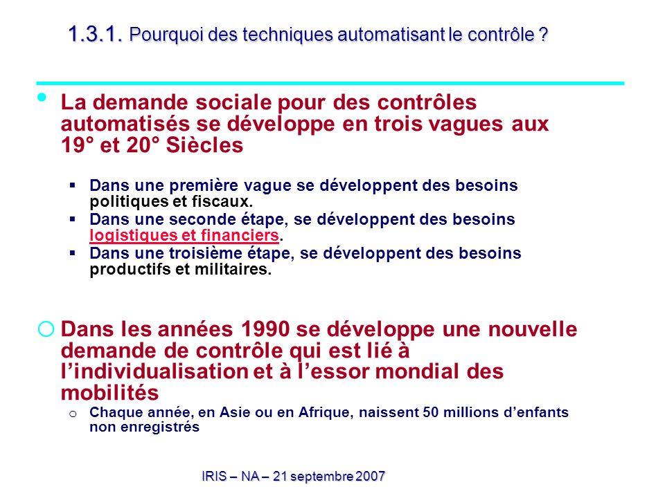 IRIS – NA – 21 septembre 2007 1.3.1. Pourquoi des techniques automatisant le contrôle ? La demande sociale pour des contrôles automatisés se développe