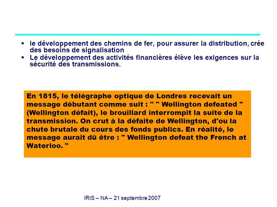 IRIS – NA – 21 septembre 2007 le développement des chemins de fer, pour assurer la distribution, crée des besoins de signalisation Le développement de