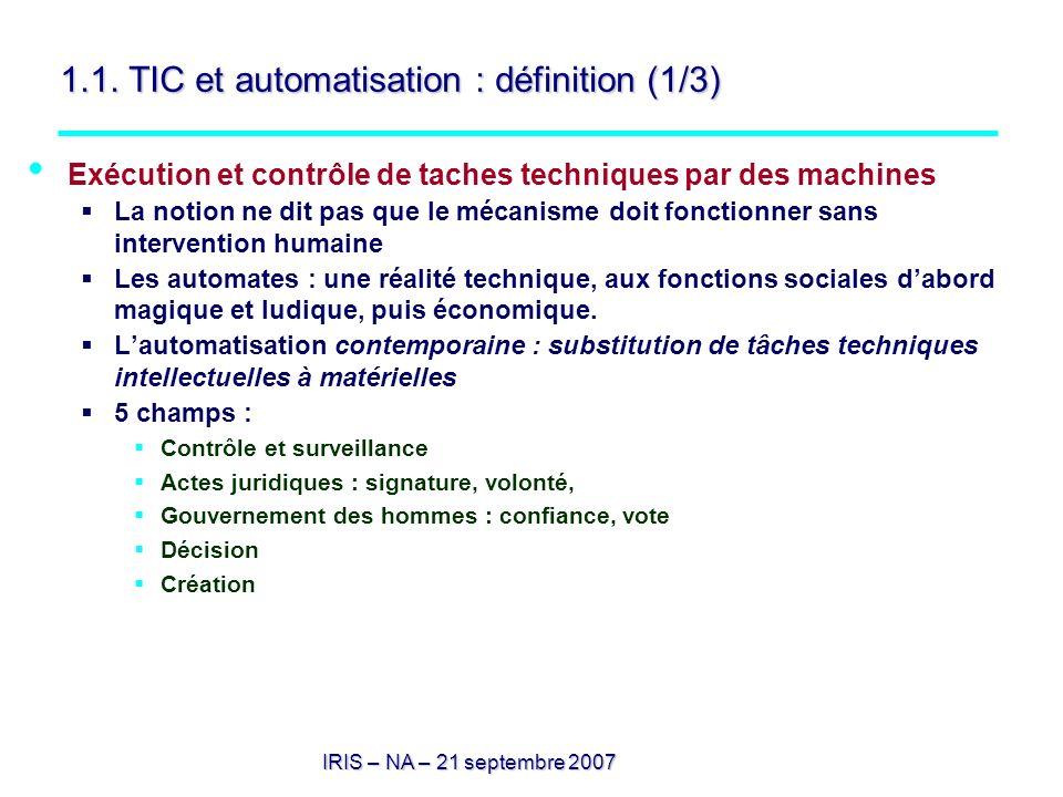 IRIS – NA – 21 septembre 2007 1.1. TIC et automatisation : définition (1/3) Exécution et contrôle de taches techniques par des machines La notion ne d