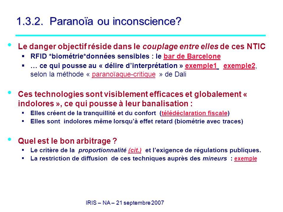 1.3.2. Paranoïa ou inconscience? Le danger objectif réside dans le couplage entre elles de ces NTIC RFID *biométrie*données sensibles : le bar de Barc