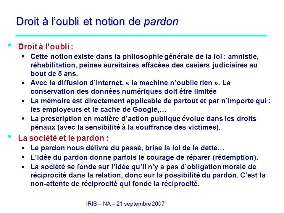 IRIS – NA – 21 septembre 2007 Droit à loubli et notion de pardon Droit à loubli : Cette notion existe dans la philosophie générale de la loi : amnisti
