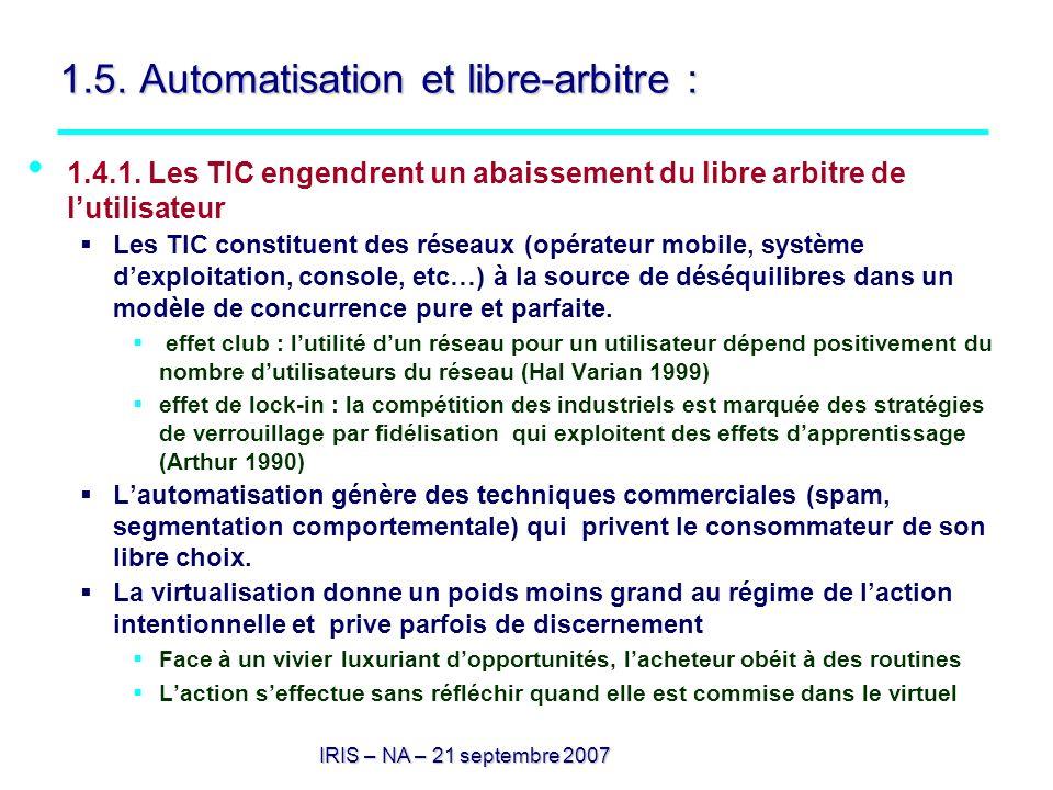 IRIS – NA – 21 septembre 2007 1.5. Automatisation et libre-arbitre : 1.4.1. Les TIC engendrent un abaissement du libre arbitre de lutilisateur Les TIC