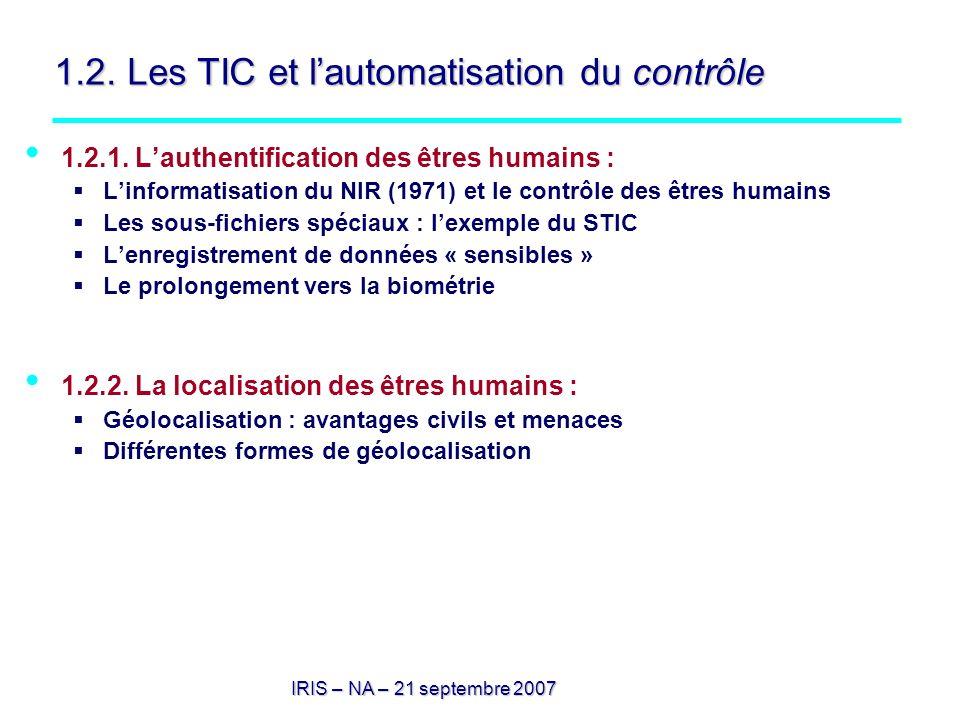 IRIS – NA – 21 septembre 2007 1.2. Les TIC et lautomatisation du contrôle 1.2.1. Lauthentification des êtres humains : Linformatisation du NIR (1971)