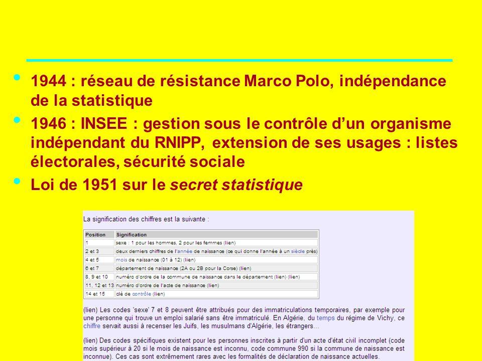 IRIS – NA – 21 septembre 2007 1944 : réseau de résistance Marco Polo, indépendance de la statistique 1946 : INSEE : gestion sous le contrôle dun organ