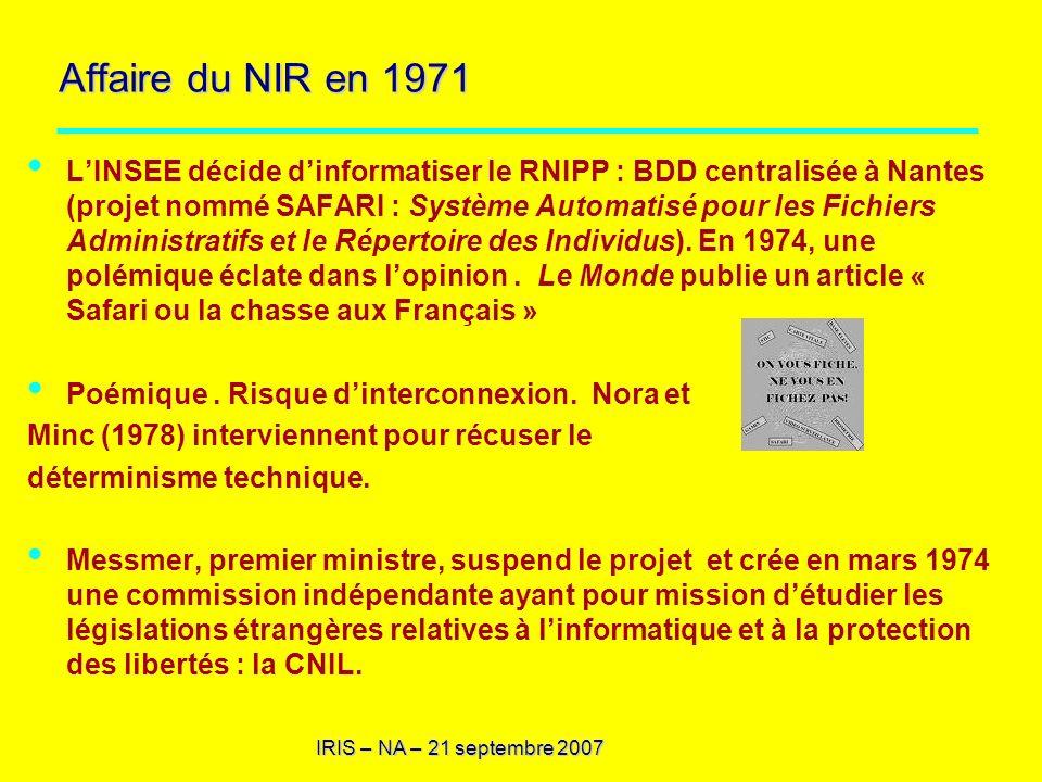 IRIS – NA – 21 septembre 2007 1.5.Automatisation et libre-arbitre : 1.4.1.