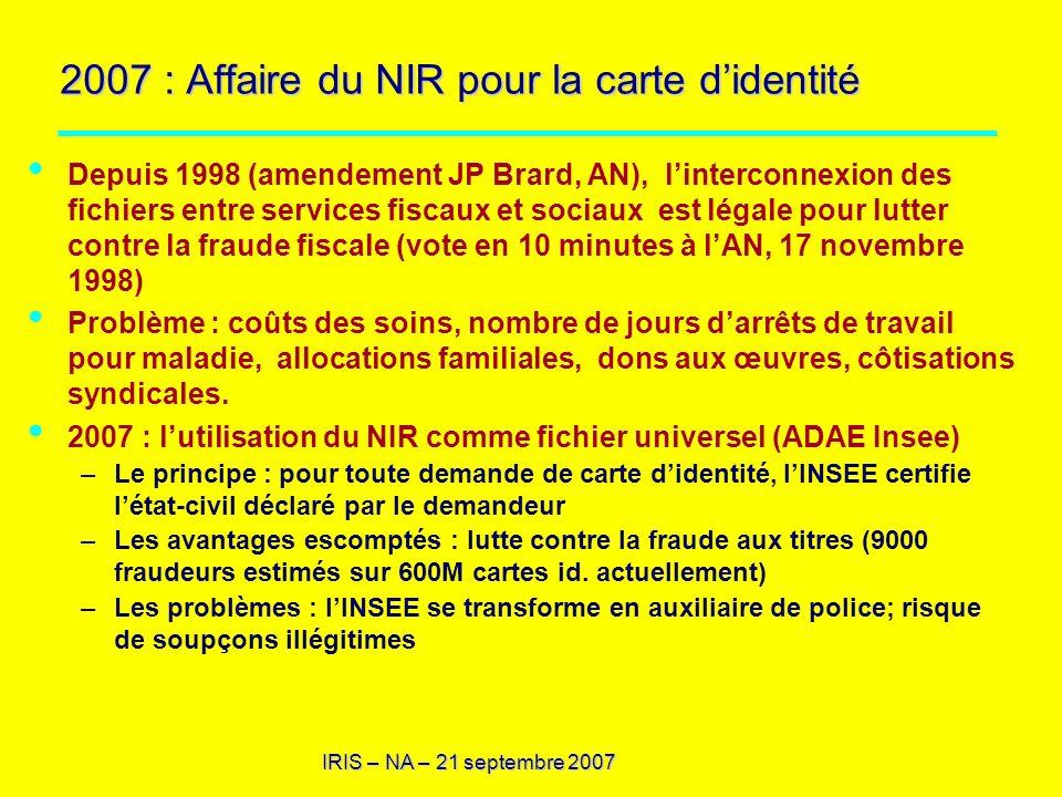 IRIS – NA – 21 septembre 2007 2007 : Affaire du NIR pour la carte didentité Depuis 1998 (amendement JP Brard, AN), linterconnexion des fichiers entre