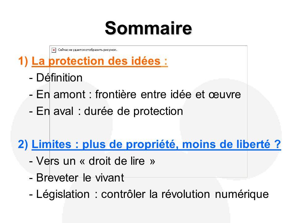 Sommaire 1) La protection des idées : - Définition - En amont : frontière entre idée et œuvre - En aval : durée de protection 2) Limites : plus de propriété, moins de liberté .