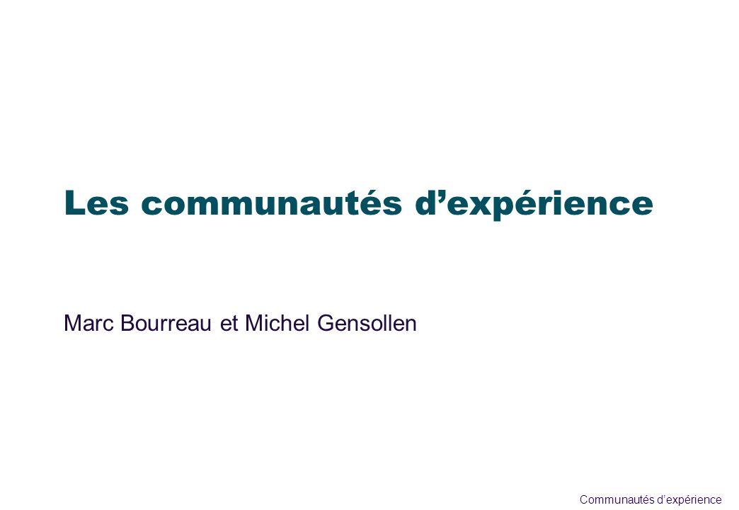Communautés dexpérience Objectifs èQuappelons-nous communauté dexpérience .