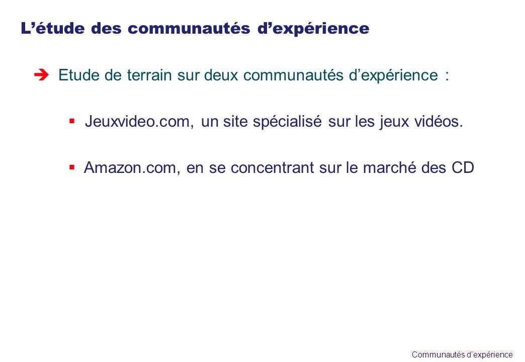 Communautés dexpérience Létude des communautés dexpérience èEtude de terrain sur deux communautés dexpérience : Jeuxvideo.com, un site spécialisé sur les jeux vidéos.