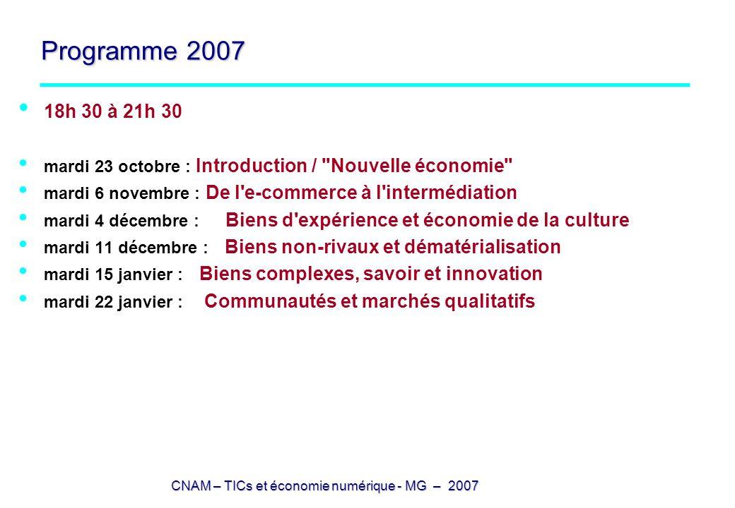 CNAM – TICs et économie numérique - MG – 2007 Programme 2007 18h 30 à 21h 30 mardi 23 octobre : Introduction /