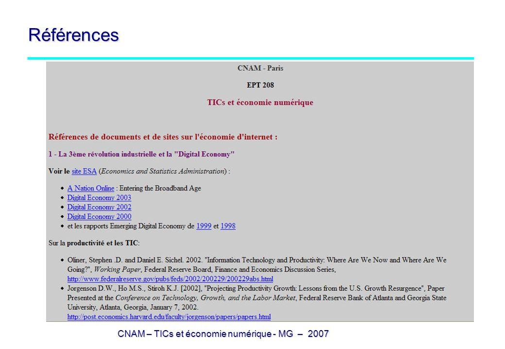 CNAM – TICs et économie numérique - MG – 2007 Références