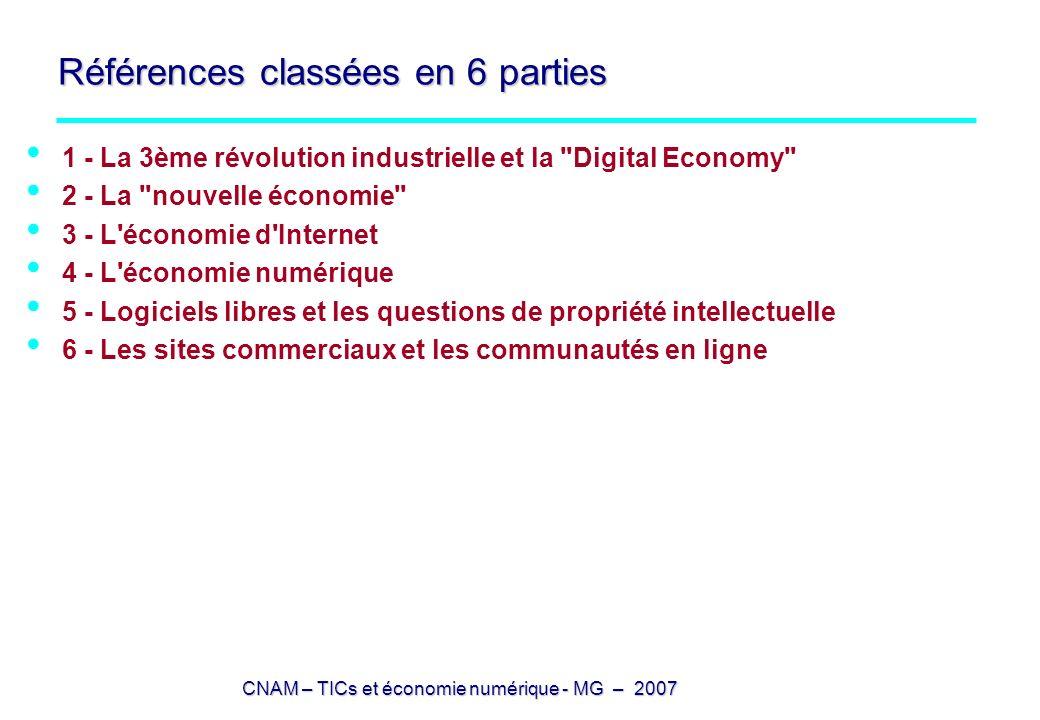 Références classées en 6 parties 1 - La 3ème révolution industrielle et la