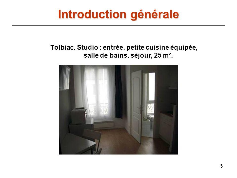 3 Introduction générale Tolbiac. Studio : entrée, petite cuisine équipée, salle de bains, séjour, 25 m².