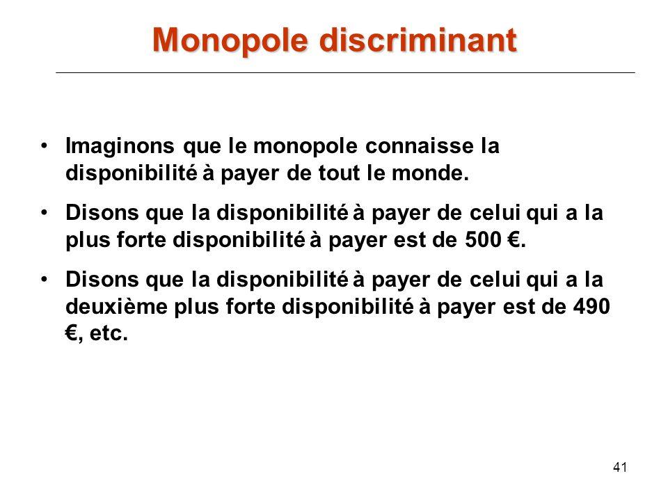 41 Imaginons que le monopole connaisse la disponibilité à payer de tout le monde. Disons que la disponibilité à payer de celui qui a la plus forte dis