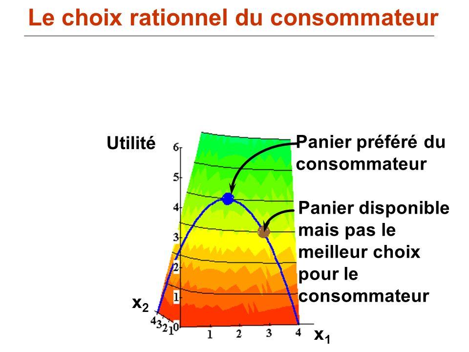 107 x1x1 x2x2 Utilité Panier préféré du consommateur Panier disponible mais pas le meilleur choix pour le consommateur Le choix rationnel du consommat