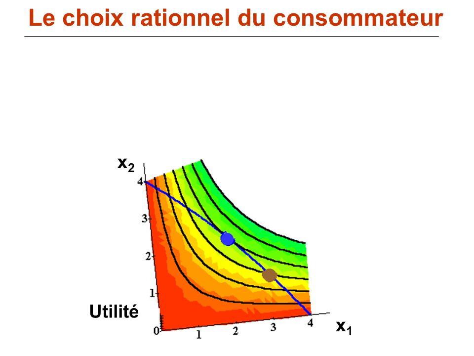 111 Utilité x1x1 x2x2 Le choix rationnel du consommateur