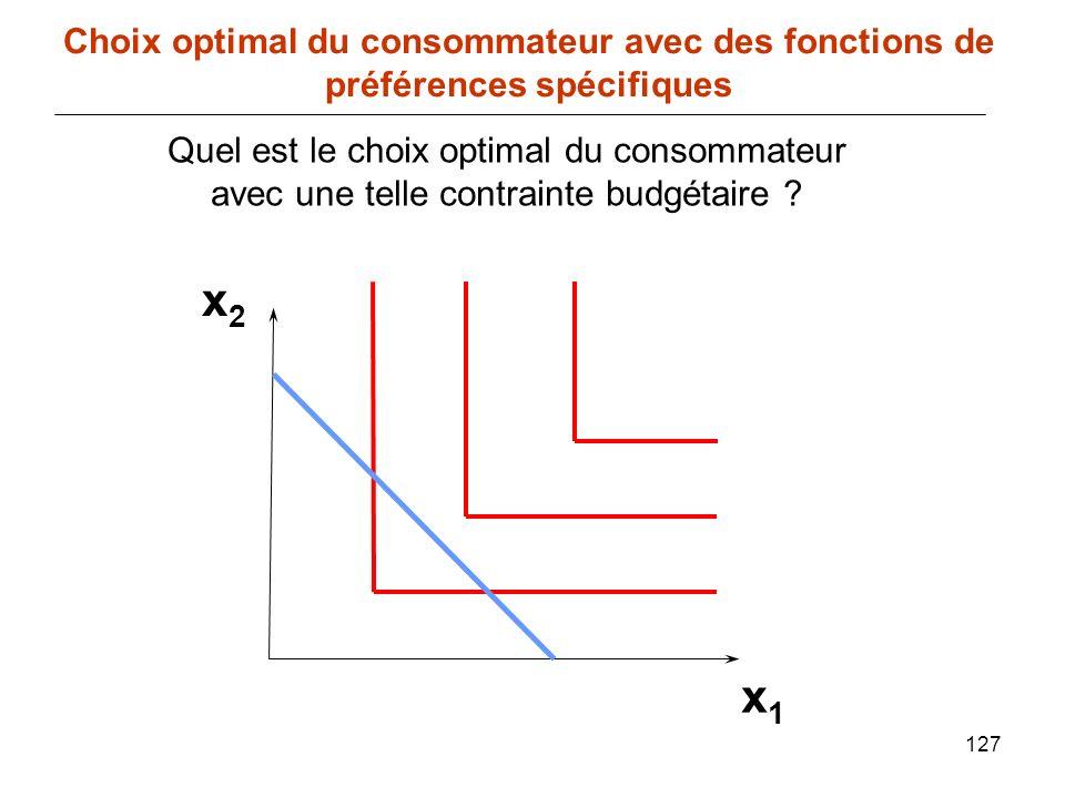 127 x1x1 Choix optimal du consommateur avec des fonctions de préférences spécifiques x2x2 Quel est le choix optimal du consommateur avec une telle con