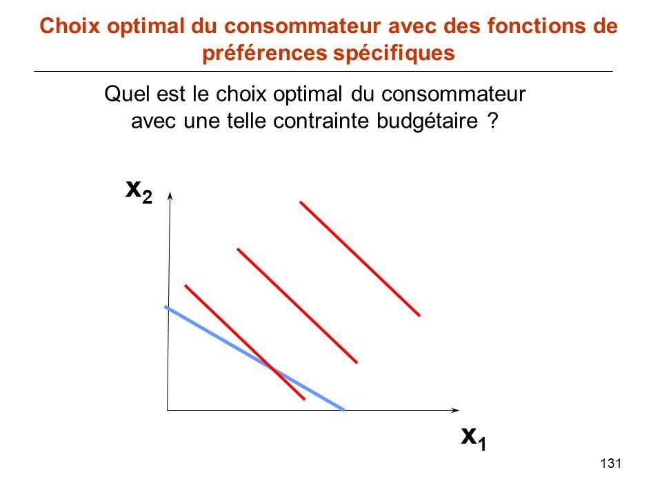 131 x1x1 Choix optimal du consommateur avec des fonctions de préférences spécifiques x2x2 Quel est le choix optimal du consommateur avec une telle con