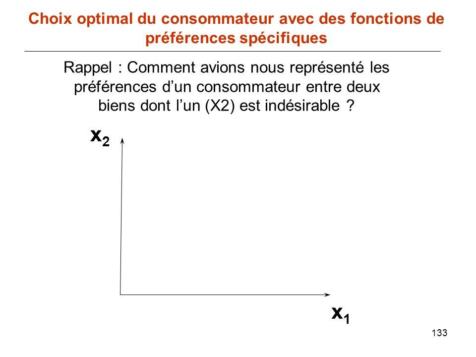 133 x1x1 Choix optimal du consommateur avec des fonctions de préférences spécifiques Rappel : Comment avions nous représenté les préférences dun conso