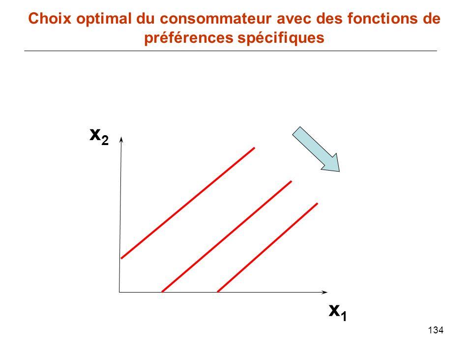 134 x1x1 Choix optimal du consommateur avec des fonctions de préférences spécifiques x2x2