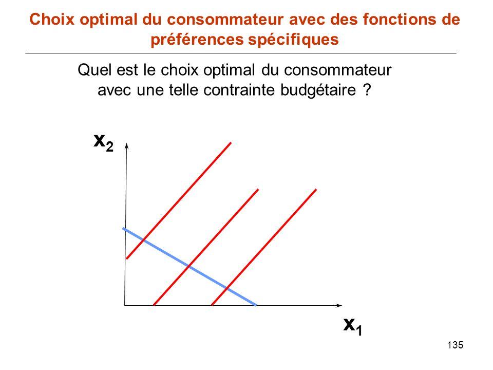 135 x1x1 Choix optimal du consommateur avec des fonctions de préférences spécifiques x2x2 Quel est le choix optimal du consommateur avec une telle con