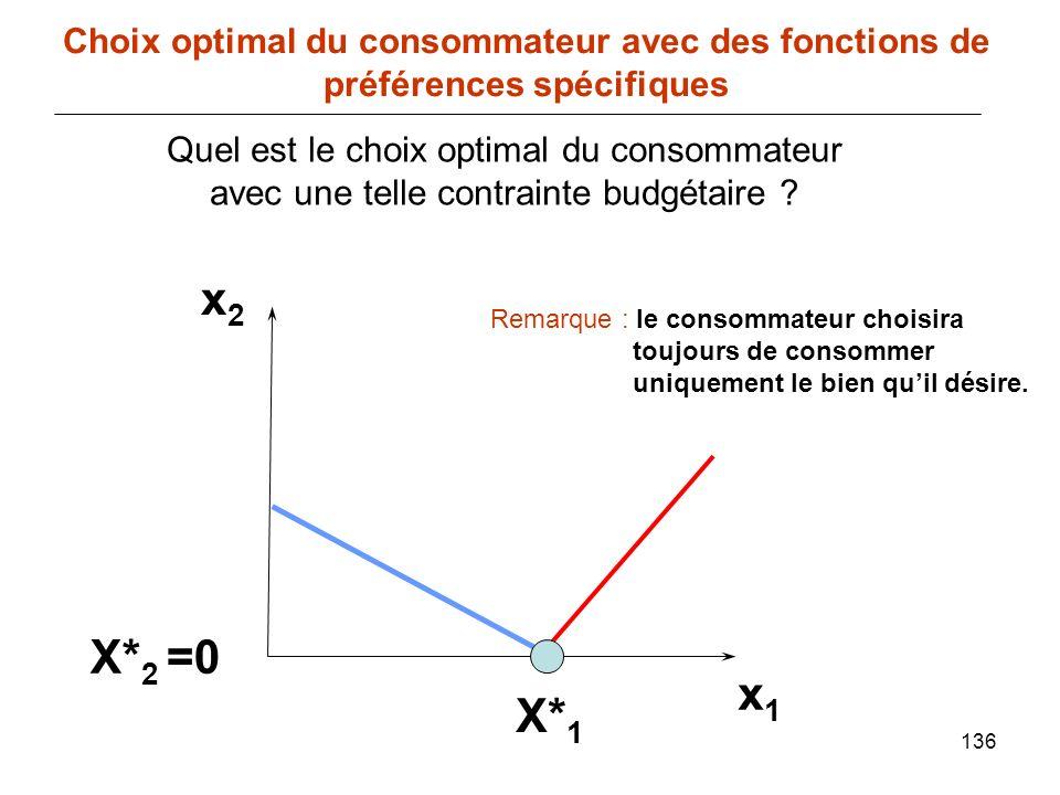 136 x1x1 Choix optimal du consommateur avec des fonctions de préférences spécifiques x2x2 Quel est le choix optimal du consommateur avec une telle con