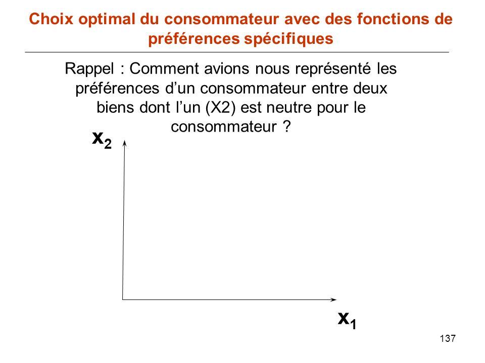 137 x1x1 Choix optimal du consommateur avec des fonctions de préférences spécifiques Rappel : Comment avions nous représenté les préférences dun conso