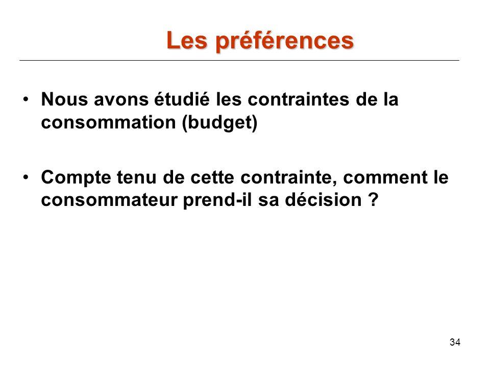 34 Nous avons étudié les contraintes de la consommation (budget) Compte tenu de cette contrainte, comment le consommateur prend-il sa décision ? Les p