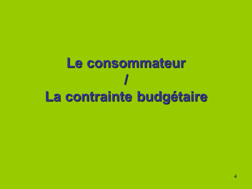4 Le consommateur / La contrainte budgétaire