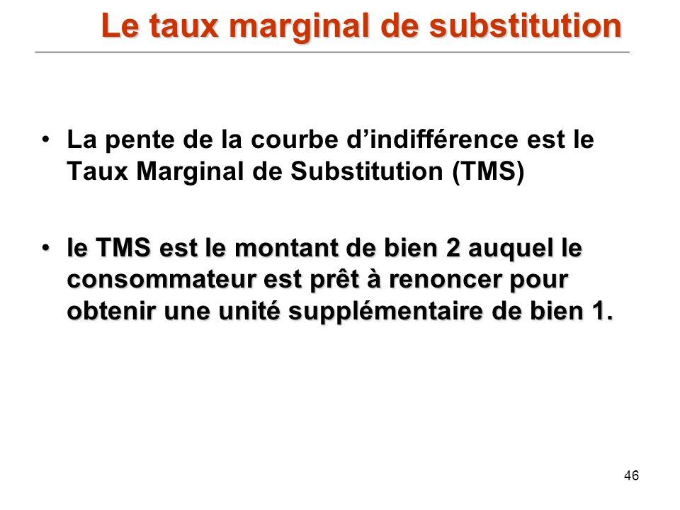46 La pente de la courbe dindifférence est le Taux Marginal de Substitution (TMS) le TMS est le montant de bien 2 auquel le consommateur est prêt à re