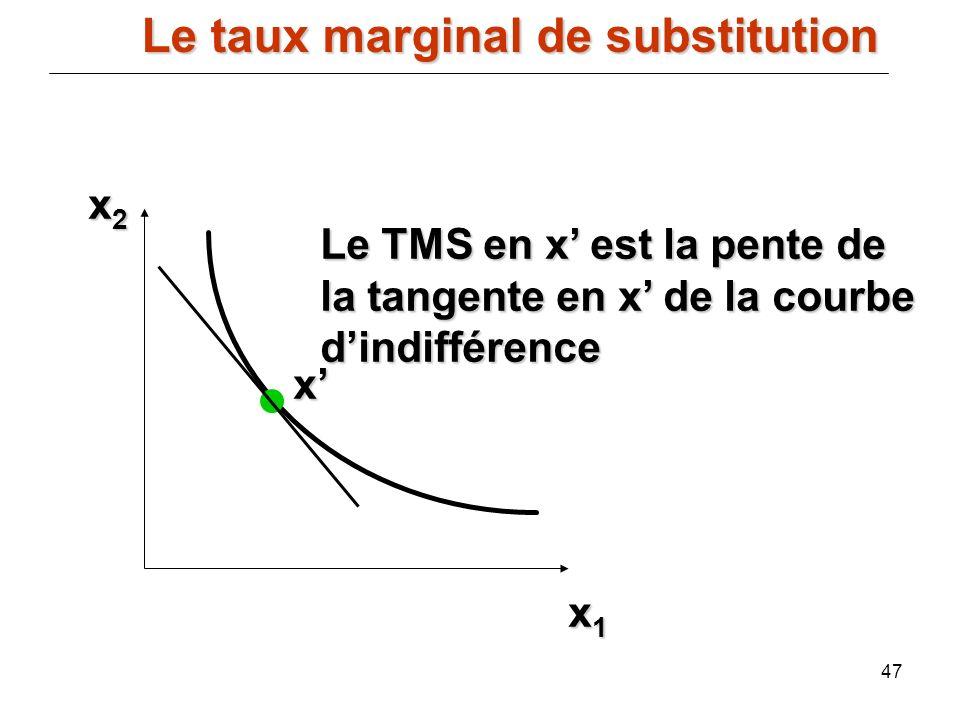 47 x2x2x2x2 x1x1x1x1 x Le TMS en x est la pente de la tangente en x de la courbe dindifférence Le taux marginal de substitution