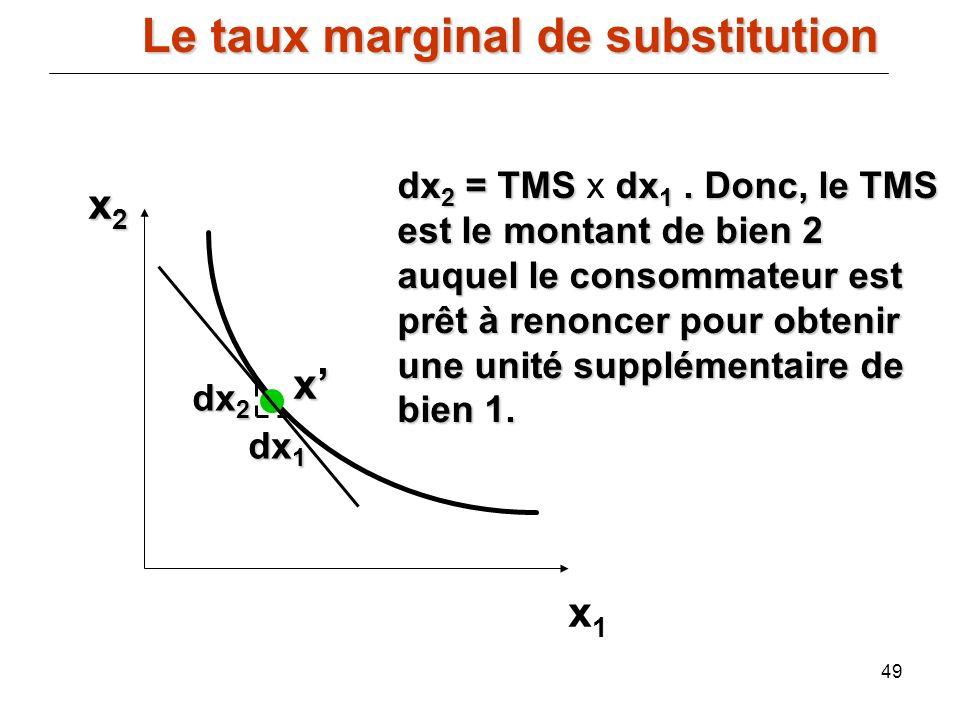 49 x2x2x2x2 x1x1 dx 2 dx 1 dx 2 = TMS dx 1. Donc, le TMS est le montant de bien 2 auquel le consommateur est prêt à renoncer pour obtenir une unité su