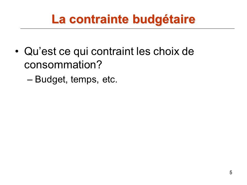 5 La contrainte budgétaire Quest ce qui contraint les choix de consommation? –Budget, temps, etc.