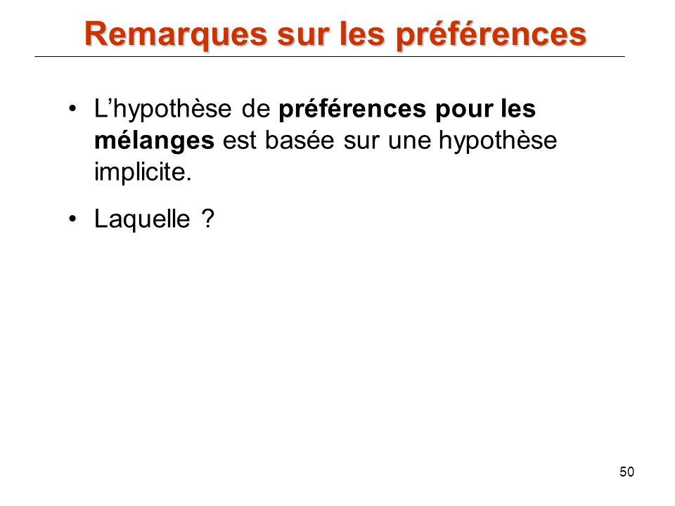 50 Remarques sur les préférences Lhypothèse de préférences pour les mélanges est basée sur une hypothèse implicite. Laquelle ?